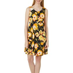 Allison Brittney Womens Floral Design Yummy Swing Dress