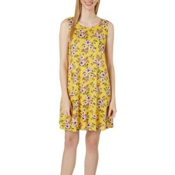 Womens Feminine Floral Yummy Swing Dress