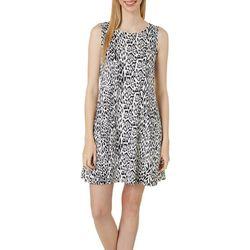 Allison Brittney Womens Leopard Print Yummy Swing Dress