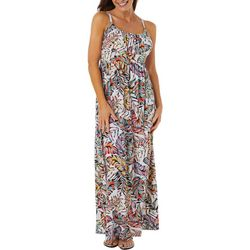 Allison Brittney Womens Palm Leaf Print Tie Back Maxi Dress