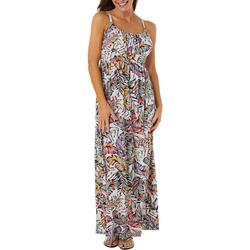 Womens Palm Leaf Print Tie Back Maxi Dress