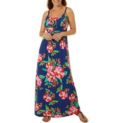 Womens Ruched Floral Maxi Dress