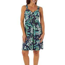 Allison Brittney Womens Palm Leaf Print Twist Front Dress