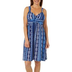 Allison Brittney Womens Rope Print Twist Front Dress