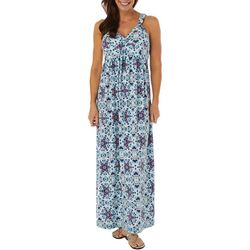 Womens Mandala Twist Front Maxi Dress