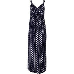 Allison Brittney Womens Polka Dot Twist Front Maxi Dress