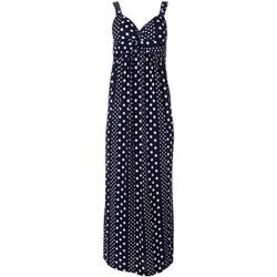 Womens Polka Dot Twist Front Maxi Dress
