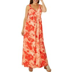Womens Tie Dye Twist Front Maxi Dress