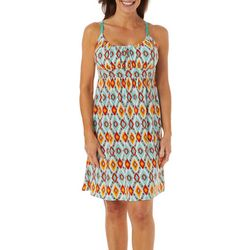 Womens Geometric Print Tie Back Dress