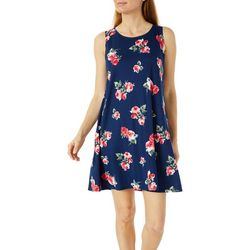 Allison Brittney Womens Rose Print Yummy Swing Dress