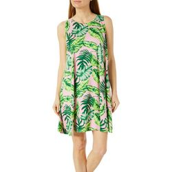 Allison Brittney Womens Leaf Print Yummy Swing Dress