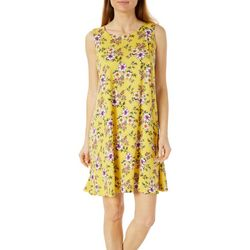 Allison Brittney Womens Floral Print Sleeveless Swing Dress