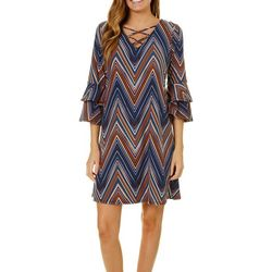 Harlow and Rose Womens Criss Cross Neck Chevron Dress