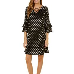Harlow and Rose Womens Criss Cross Neck Polka Dot Dress