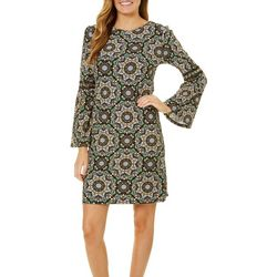 Harlow and Rose Womens Medallion Print Bell Sleeve Dress