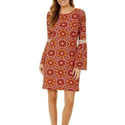 Harlow and Rose Womens Bell Sleeve Medallion Print Dress