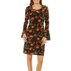 Harlow and Rose Womens Garden Print Bell Sleeve Dress