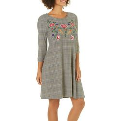 Harlow and Rose Womens Embroidered Floral Houndstooth Dress