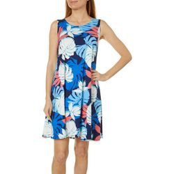 Allison Brittney Womens Tropica Leaf Print Yummy Swing Dress