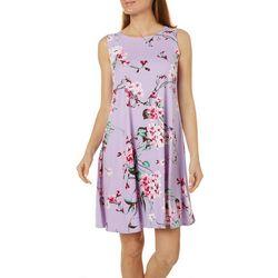 Womens Feminine Floral Design Swing Dress