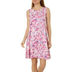 Allison Brittney Womens Painted Floral Yummy Swing Dress