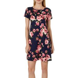 Allison Brittney Womens Cabbage Rose Swing Dress