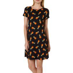 Allison Brittney Womens Pineapple Print Swing Dress
