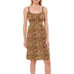 Allison Brittney Womens Cheetah Print Tie Back Sundress