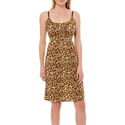 Allison Brittney Womens Cheetah Print Tie Back Sundress