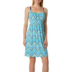 Allison Brittney Womens Chevron Print Tie Back Sundress