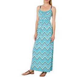 Allison Brittney Womens Chevron Print Tie Back Maxi Dress
