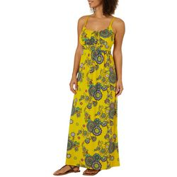 Allison Brittney Womens Boho Floral Tie Back Maxi Dress