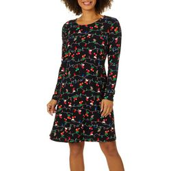 Allison Brittney Womens Stocking Print Swing Dress