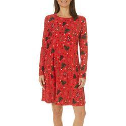 Allison Brittney Womens Christmas Tree Print Swing Dress