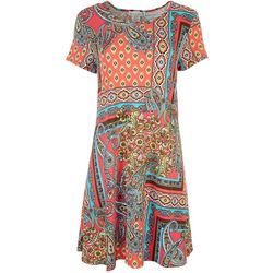 Jamie & Layla Womens Geometric Garden T-Shirt Dress
