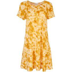 Jamie & Layla Womens Tie Dye Short Sleeve T-Shirt Dress