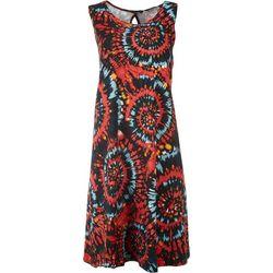 Allison Brittney Womens Sleeveless Spiral Yummy Swing Dress