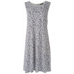 Allison Brittney Womens Flower Print Sleevless Dress