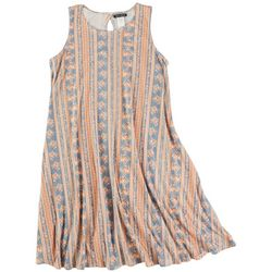 Allison Brittney Womens Floral And Striped Sleevless Dress