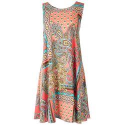 Allison Brittney Womens Printed Sleevless Dress