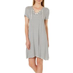 Harlow and Rose Womens Striped Lace-Up Swing Dress