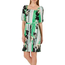 Harlow and Rose Womens Mixed Media Tie Waist Dress