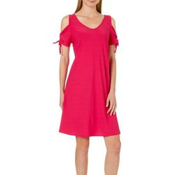 Harlow and Rose Womens Cold Shoulder Tie Sleeve Dress