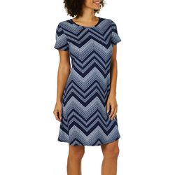 Allison Brittney Womens Chevron Print T-Shirt Dress