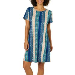 Allison Brittney Womens Medallion Striped T-Shirt Dress