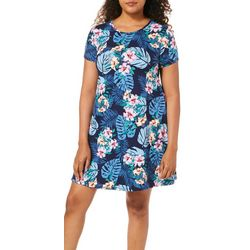 Allison Brittney Womens Tropical Palm Print T-Shirt Dress