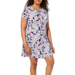 Allison Brittney Womens Bright Paisley T-Shirt Dress