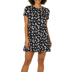 Allison Brittney Womens Floral Print T-Shirt Dress