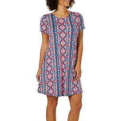 Allison Brittney Womens Geometric Striped T-Shirt Dress