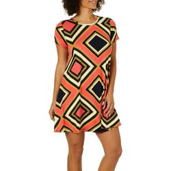 Allison Brittney Womens Diamond Print T-Shirt Dress